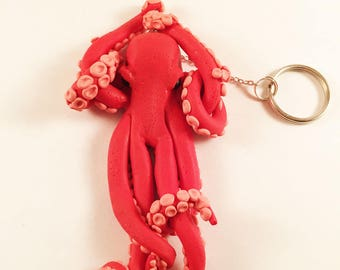 Orange Octopus keychain