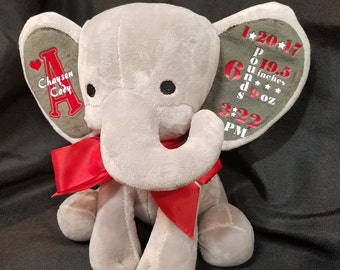 Personalized Baby Announcement Elephant - Keepsake - Baby gift - New mom