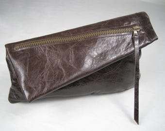 The Francesca, Chocolate Brown Soft lambskin leather clutch, Mustard lining