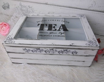Tea box tea box with glass storage tea tea bag Tea Caddy box white shabby tea bag box shabby chic white gift tea drinkers