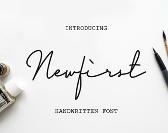 Newfirst Signature Script Font - Hand Lettered Calligraphy Font - Font Download - Wedding Font Download - Calligraphy Typeface