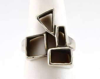 Abstract Ring, Size 7, Vintage Ring, Sterling Silver