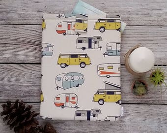 Vintage Trailer Padded Book Sleeve - Baby My Book, book sleeve, book protector, paperback sleeve, Book accessory, book pouch, VW