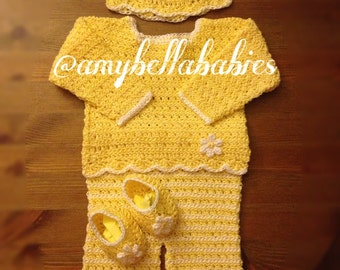 Sweater, Pants, Hat and Ballet Flats Set, Crochet Sweater, Pants, Hat and Ballet Flats Set, Newborn, Baby, Outfit, Baby Outfit, Accessories