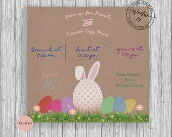 Easter egg hunt and brunch invites customized personalized 5x5 cards packs
