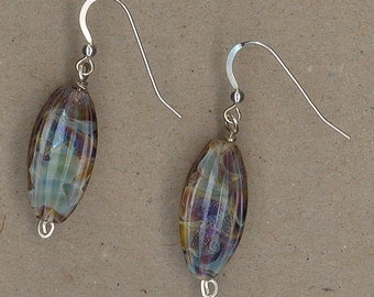 Art Glass and Sterling Silver Earrings