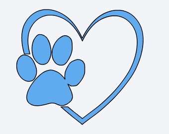 Dog Paw Heart Decal