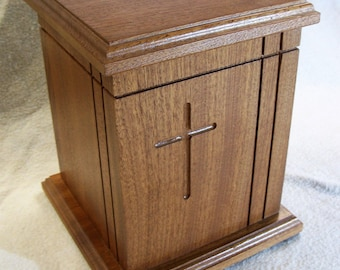 Wooden Cross Urn in Sapele