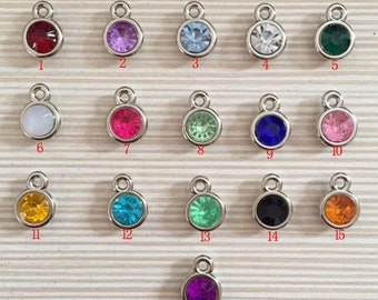 12 Pcs (11 mm) Acrylic Birthstone Charms