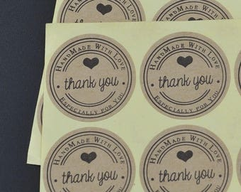 "100 Pcs ""Thank You Handmade with Love Especially for You"" Kraft Stickers"