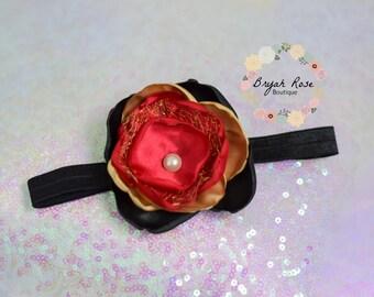 Black, Gold, Red Flower Headband // Special Occasion // Birthday // Singed Satin Flower // Handmade