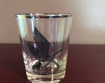 1970's Canada Goose Vintage Bar ware Glass with silver rim