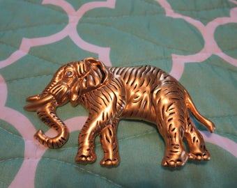 Vintage Belt Buckle, Gold tone Elephant