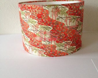 CHIYOGAMI, Japanese paper drum lampshade 30cm wide x 21 cm high