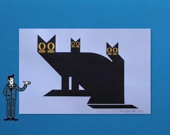 Abstract Cat Trio - 2 Color Screenprint
