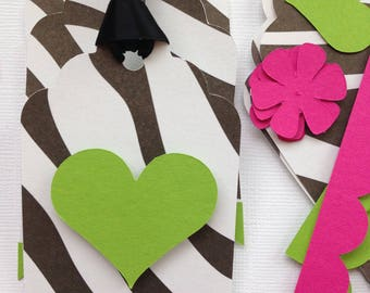 Zebra print gift tags/party favor tags