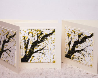 Lino Print Blank Occasion Cards Set of 3