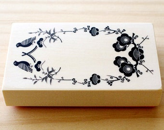 CLEARANCE SALE - Rubber stamp - Japanese card - wreath