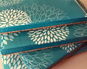 Turquoise White Mum Coasters