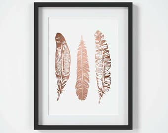 Mothers Day Gift, Copper Wall Art, Copper Feathers Print, Modern Bedroom Decor, Rose Gold Wall Art, Feathers Art, Printable Wall Art