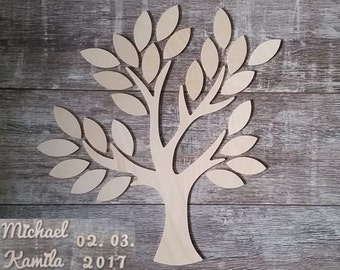 Wedding tree - guestbook wedding wedding tree from wood personalized type 6-25 guests