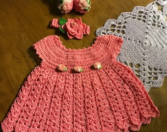 Baby girl handmade crochet dress