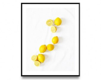 Lemon wall print, kitchen decor, printable fruit art, fruit print art, lemon printable art, lemon print, lemon prints, printable art