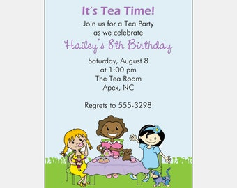 Tea Party Invitation | Multicultural Birthday Party | African American Party Invitation | African American Birthday Party | Kids Tea Party