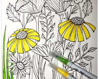 Printable Wily Wildflowers Colouring Page