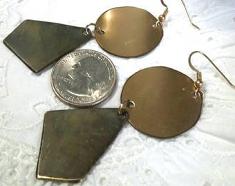 Brass geometric hanging pierced vintage earrings