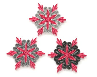 Set of 6 Quilled Snowflakes, Handmade Paper Quilling Art, Cute Home Decoration Idea, Christmas Decoration, Christmas Ornaments,FREE SHIPPING
