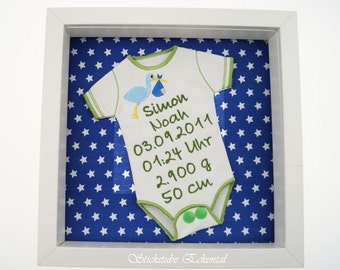 Stork embroidered Bodysuit with preferred dates