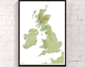 Great Britain and Ireland topography map printed in high resolution, ultraHD, British Isles map, GB UK England Scotland Wales, MAPHIGH, Eire