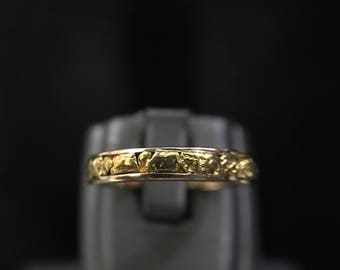New 14k Gold Nugget Band size 6.5