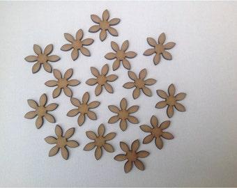 50 x Wooden Flower Embelishments