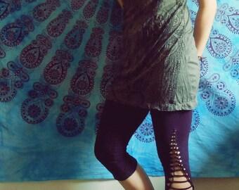 Cut out leggings - Yoga goa pants - braided pants - Gypsy wear - mid-lenght