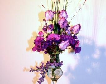 Beautiful Violets, Roses and Beauty-berry Artificial Flower Arrangement