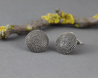 Earclip oxidized sterling silver circles with dots