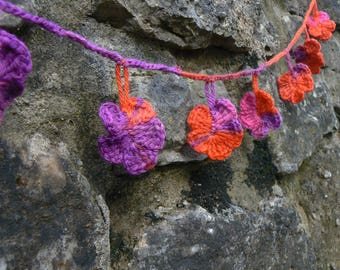 Crochet Flower Bunting (Pink/purple/orange)