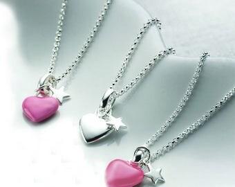 Rosie Pink Heart & Star Necklace