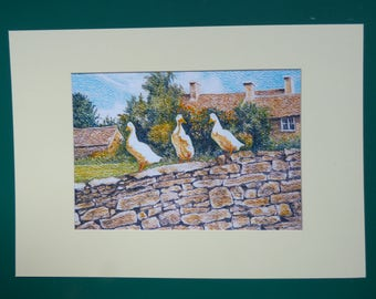 Duck Art Print, Village Life Prints, English Countryside Prints, Cotswolds Prints, Jemima Puddleduck, Duck Wall Art, Rural Scene Print