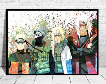 """Naruto Poster Size up to 33""""x47"""" Anime Print Wall Art Watercolor Decor Canvas,Buy 2 Get 3rd FREE, Naruto Poster, AG216"""