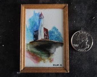 Miniature water color, doll house accessories