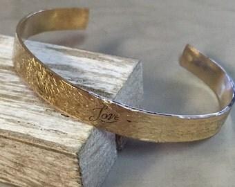 Hammered Brass Love Cuff Bracelet