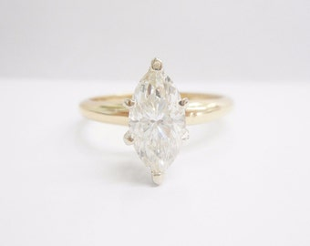 Diamond Ring, Marquise Diamond Ring, Solitaire Ring, 14k Yellow Gold 1.22 Carat Marquise Diamond Solitaire Engagement Ring #2551
