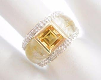 Citrine Ring, Rutilated Quartz Ring, Gold Citrine Ring, 10k Yellow Gold Citrine Rutilated Quartz Diamond Accent Ring Sz 6 #2854