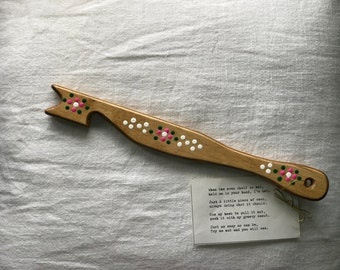 Oven Stick With Pink Flower Detail-Golden Oak Stain