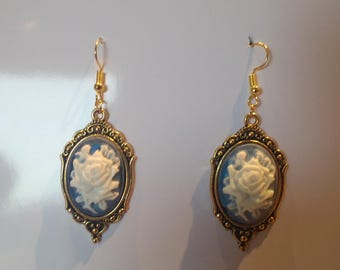 Handmade Vintage Style Gold  Cameo Earrings With Blue Rose Cameo.