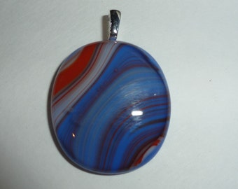 Red White and Blue necklace July 4th necklace Fused glass Pendant Red white and blue pendant Silver plated bail DRGS146