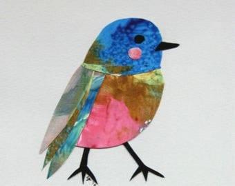 Little Robin, Limited Edition Glicée Print,Nursery Art, blue bird, children's decor, Hahnemuhle cotton rag 308gsm, darling little bird
